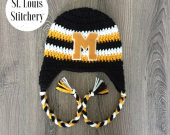 Mizzou Inspired Earflap Hat / Block M Hat / Crochet Football Hat / Sizes Newborn - 5 Years **MADE TO ORDER**