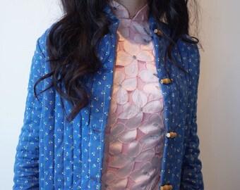 VINTAGE 1970s Lurex Floral Quilted Cropped Jacket