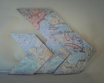 Map Themed Chevon Arrows Set of 3, World Traveler Arrows, Vintage Maps, Vintage Chevron Arrows, Traveling Maps