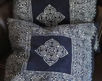 """Get  2pcs of  16"""" x 16"""" Indigo Cushion cover, boho, bohemian,Thai cushion excl. pillow"""