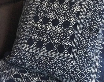 Get  2pcs of  54 x 54 cms Indigo Cushion cover, boho, bohemian,Thai cushion excl. pillow
