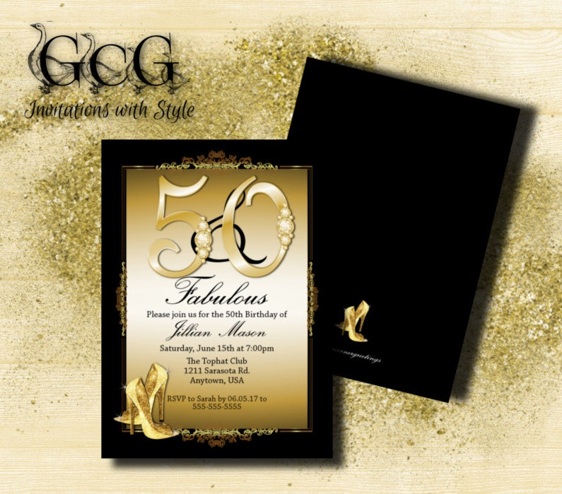 50th Birthday Invitation for woman 50th Birthday Fifty and – 50th Birthday Invitations Printable
