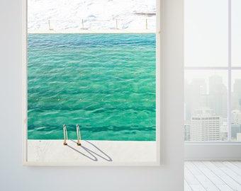 Beach photography, turquoise water, ocean pool, coastal photography, ocean photography, contemporary art, Beach print