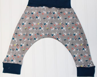 ORGANIC Mushrooms Harem Pants, Shroomy in Grey with Blue Accents, Baby and Kids Harem Pant Leggings