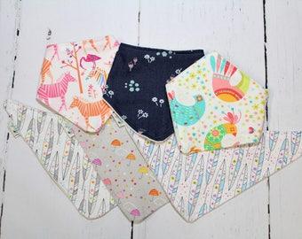 Bibdana, Baby Bandana Bib, Super Soft Cotton and Orgabic Cotton Fleece Bib, One Bibdana Choose your fabric, Boys, Girls, Neutral Options
