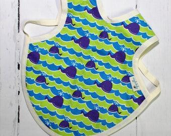 Ocean Bapron, Full Coverage Bib, Art Smock, Baby Toddler Apron Bib, Whales, Out to Sea, Waves, Ocean Waves, Sea life