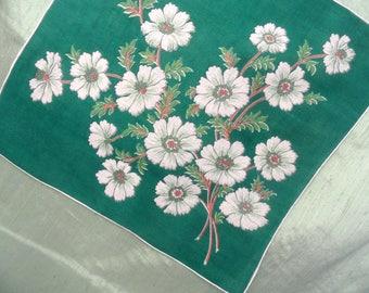 Green and white floral handkerchief / vintage branch hankie