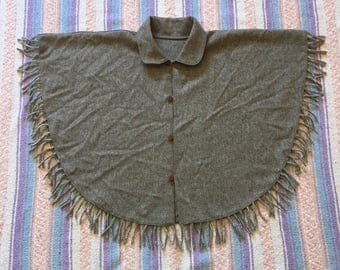 Mexican Artilana Button Down Wool Collared Cape, One Size