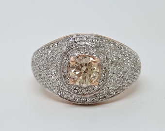Champagne .96ct (Pink Brown) & White Diamond 10kt Rose Gold Ring Size 6.5