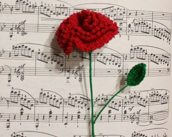 Crochet Carnation, Carnation Flower, Red Carnation, Home Decor, Handmade Gift, Romantic Gift, Flower Gift, Anniversary Ideas, Valentines Day