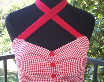 Lucy Gingham Retro Top-Halter Top/Criss-Cross/Crop Top-PinUp-Rockabilly-Rockabella-Roller Derby-Hot Rod