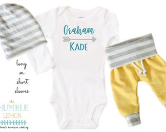 Baby Boy Coming Home Outfit: CHOOSE YOUR COMBO Turquoise Personalized Name, Yellow, White and Gray Harem Pants and Reversible Slouchy Hat