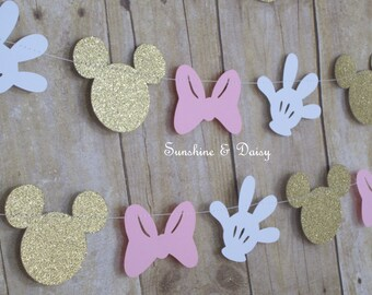10 ft minnie mouse inspired paper garland banner decorations birthday pink and gold