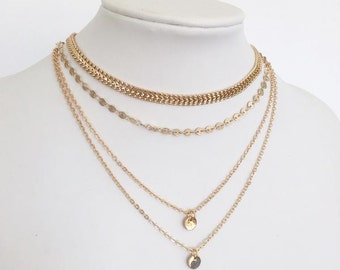 Freja - Siver, Gold or Rose Gold Layered Choker Necklace