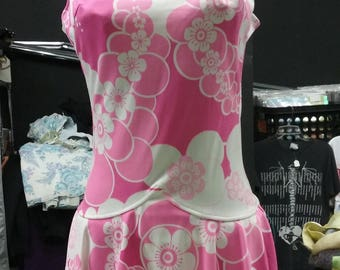 Vintage Pink Skirted Swimsuit Built in Bra size small