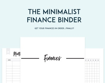 Minimalist Finance Binder PDF Printable Pages - INSTANT DOWNLOAD - Budget Binder - Money Management - Household Finances - Bill Pay