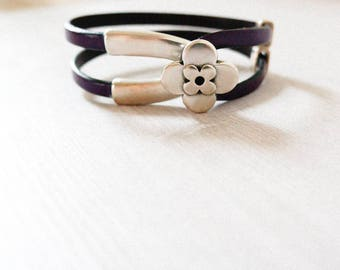 Jewellery Bracelets Leather bracelet Valentine's Day Gift Eggplant leather Aubergine leather, Silver flower bracelet, Double wrap leather