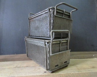 Vintage Metal Basket Industrial Storage Label Plate