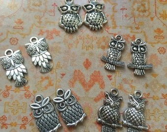 8 pcs Mini Owls 12x20mm Silver Plated, mix Mini owl Chains/Charm Pendants, 8 different mini owl chains collection