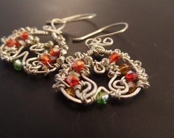 Upside Down Heart Mosaic Freeform Earrings