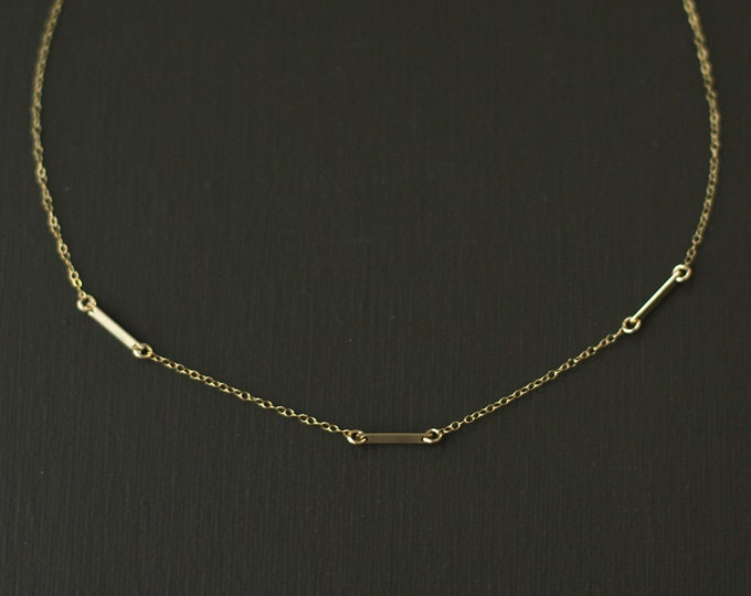 Gold Fill Choker Bar Necklace