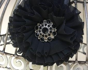 Hair clip: black flower hair accessory with black rhinestone accent, girls black hair clip, womens black hair flower, hair accessory