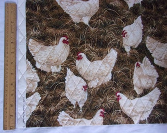 Double Sided Quilted Fabric with Extra Heavy Stabilizer for Sewing Purses in a Chickens Print by Michael Miller