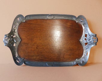 Antique French Art Deco GALLIA CHRISTOFLE Tray -   Pewter and Walnut Art Deco Tray