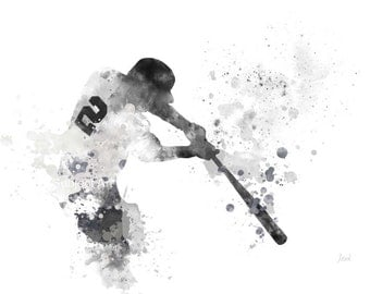 Derek Jeter ART PRINT illustration, New York Yankees, Baseball, Sport, MLB, Wall Art, Home Decor