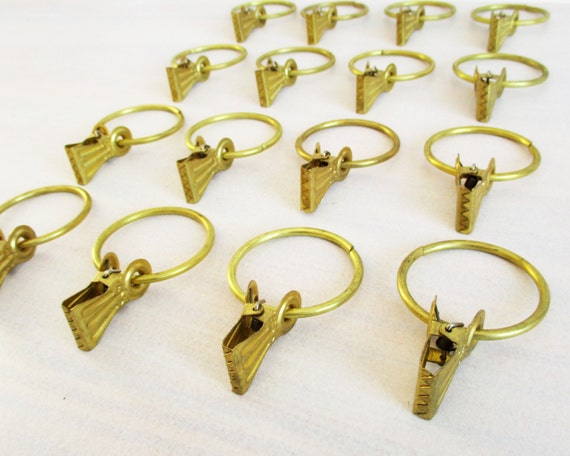 curtain ring set 16 antique drapery gold tone