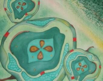 "Hand painted Silk shawl ""green apple"""