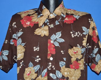 70s Brown Floral Disco Button Down Shirt Large