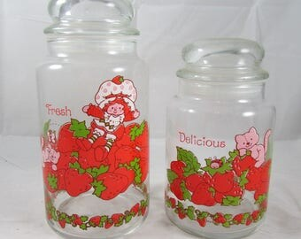 2 Strawberry Shortcake Glass Canisters American Greetings 1980