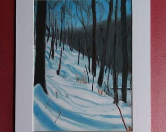 "Fine Art Print ""Winter Woods"" 6x8 matted to 8x10"