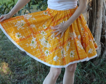 Vintage Tablecloth Circle Skirt – Orange, yellow and flowers - not your traditional plaid!