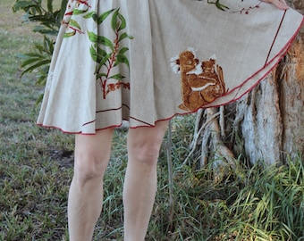 Vintage Tablecloth Circle Short Skirt - KOALA BEARS Australia Unbelievably Adorable LINEN