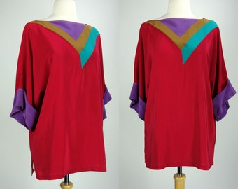 1980s color block top, short sleeve, red silk, pull over blouse, Marc D'alcy for Beliane, XL