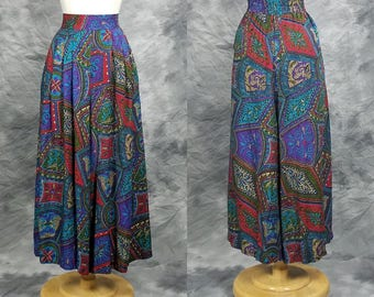Rayon print palazzo pants, high waist, wide leg, comfortable summer pants, Norton McNaughton, Large