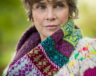 Fair isle Snood with Plum Bouclé by Crooked Knitwear