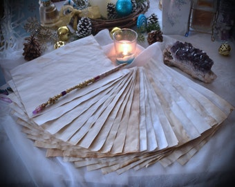 20 Sheets of Parchment / Blank Book of Shadows Pages in natural Tan / Magick Spell Stationary / Plain Petition Paper / Witchcraft BOS Pages