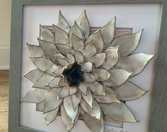 Handmade 3D ceramic flower wall art