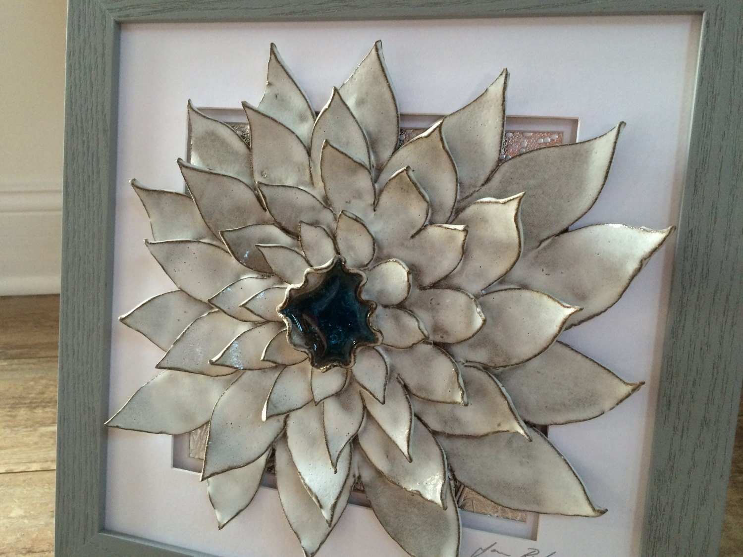 Handmade 3d ceramic flower wall art for 3d flowers for wall decoration