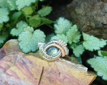 Size 6.5 • Labradorite • Sterling Silver with 14k Rose Gold Fill Accents • Wire Wrapped Ring