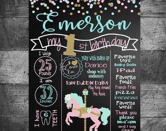 First Birthday chalkboard carousel horse-birthday board chalkboard, Pink, Gold,Mint, Glitter,  First Birthday chalk, 16x20 photo prop