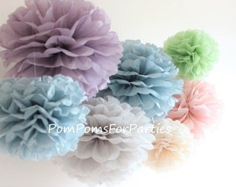 10 High Quality LARGE Size Silk Paper Pom Poms - Baby shower decorations - Family Photoshoots - Kids Party - Theme Party - Outside Party