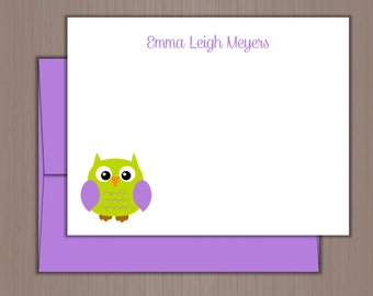 Personalized Note Card Set, Flat Note Cards, Owl Note Cards, Personalized Stationery, Personalized Stationary, Thank you Notes, Girls