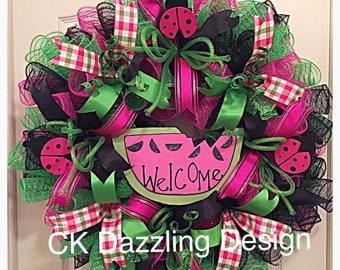Watermelon Hot Pink Deco Mesh Wreath/Summer Wreath/Ladybug Wreath/Welcome Wreath/Pink Wreath