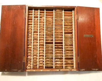Antique Swartchild Horologist Watchmaker Box with 275+ Watch Crystals, c. 1930