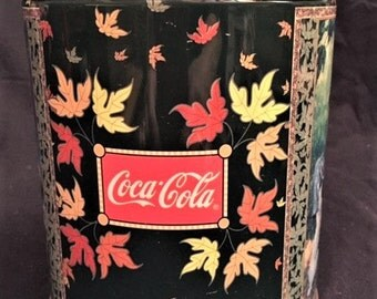 "Coca Cola Fall print 6"" tall tin"