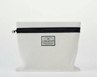 Neoprene Clutch bag - BIANCO WHITE Cosmetics case, beach accessory bag, clutch bag, summer bag, surfer bag.
